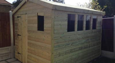 10x8 Tanalised 19mm Heavy Duty Apex Shed With Single Door