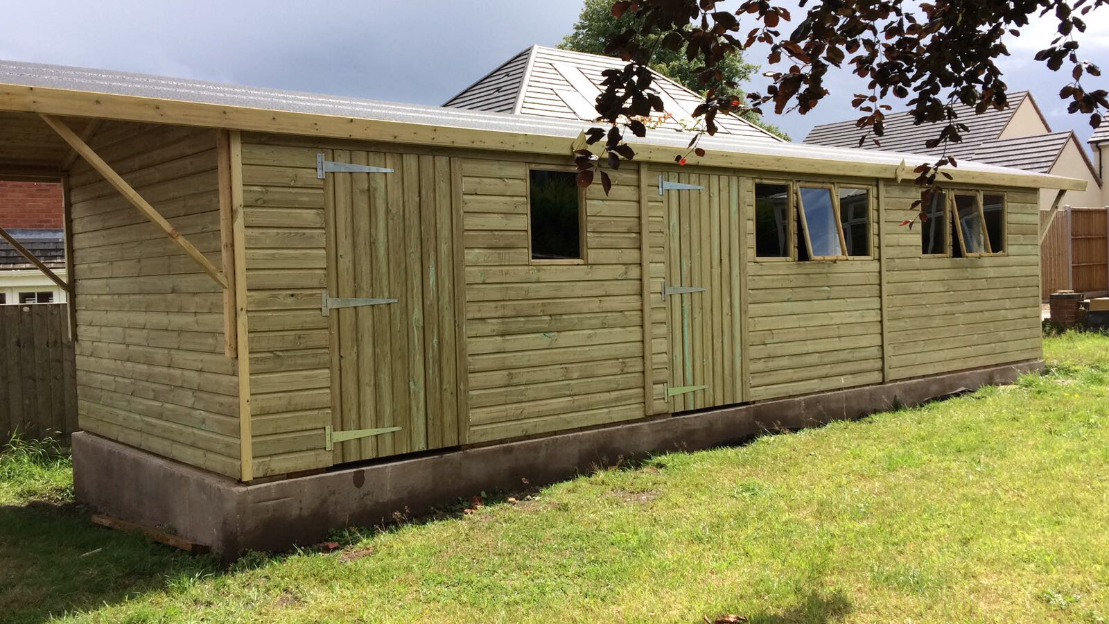 30x10 Garage With Partion And Canopy Midland Sheds